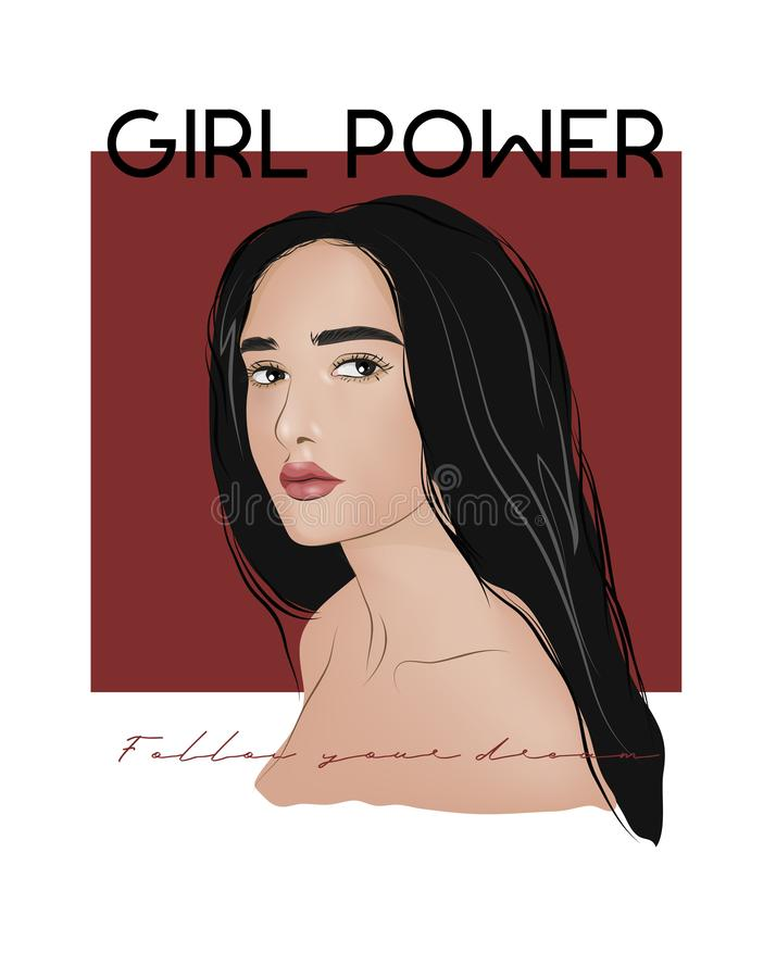 Illustrazione di slogan di potere della ragazza Perfezioni per la decorazione quali i manifesti, l'arte della parete, la borsa, l illustrazione di stock