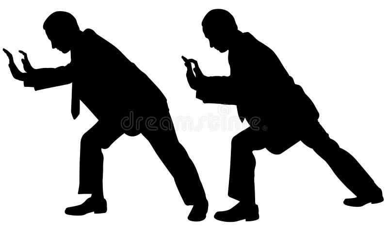 Illustrazione di spinta delle siluette della gente illustrazione di stock