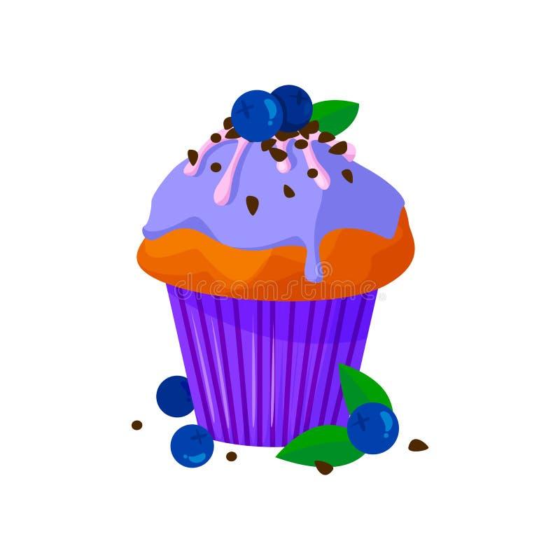 Illustrazione di stile del fumetto di vettore del bigné dolce Dessert dolce delizioso decorato con crema, cioccolato ed il mirtil royalty illustrazione gratis