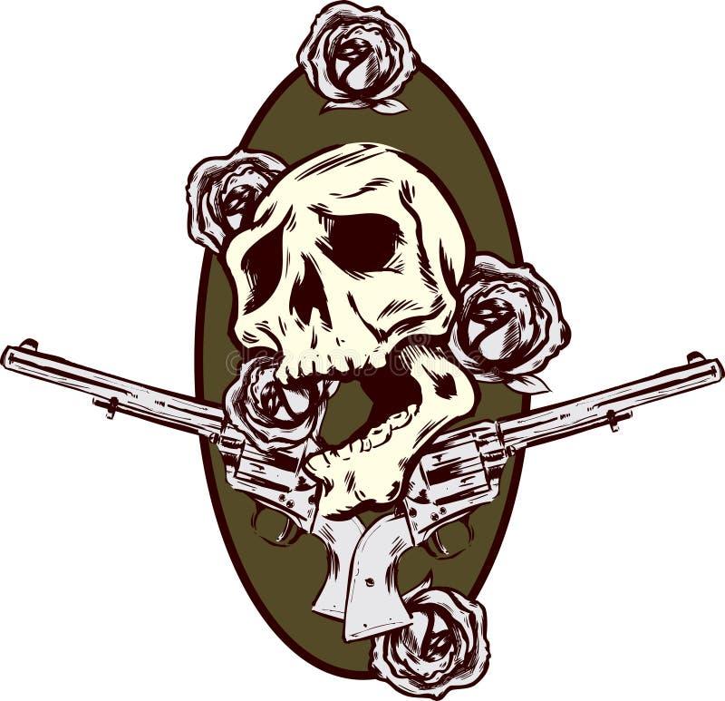 Illustrazione di stile del tatuaggio delle rose e delle pistole delle pistole illustrazione di stock