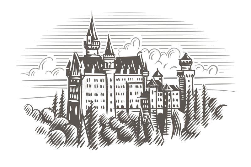 Illustrazione di stile dell'incisione del castello del Neuschwanstein Vettore layered illustrazione vettoriale
