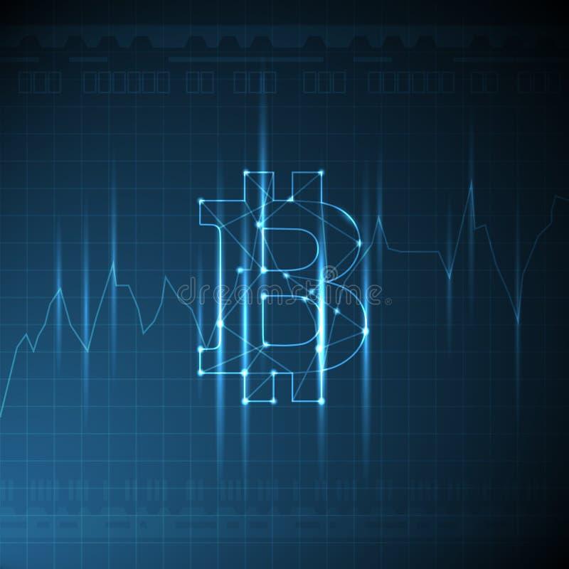 Illustrazione di tema di cryptocurrency di vettore con il segno d'ardore del bitcoin e maglia con il grafico crescente royalty illustrazione gratis