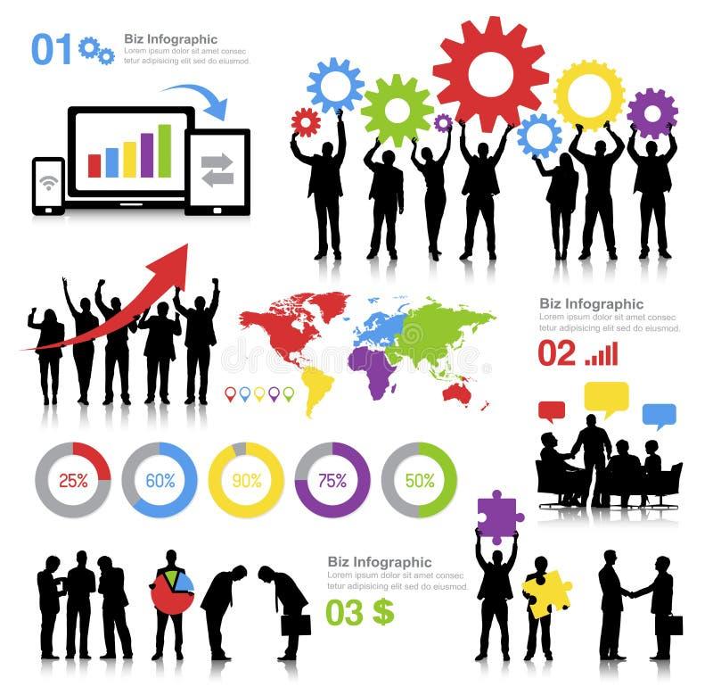 Illustrazione di tema di affari globali con Infographics illustrazione di stock