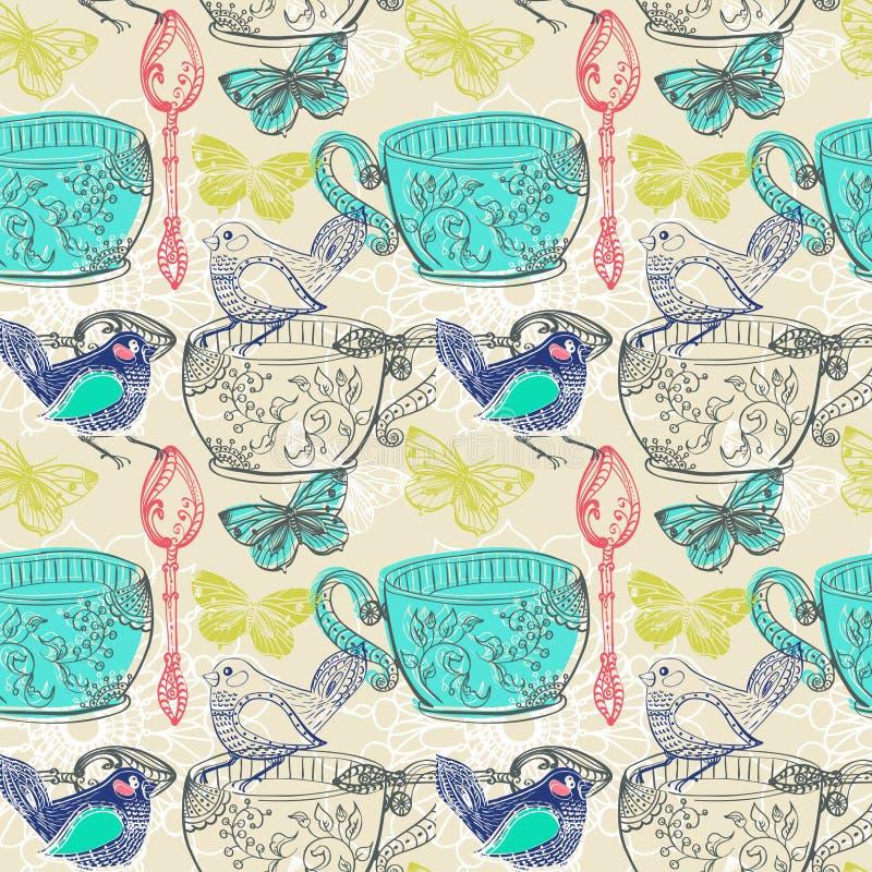 Illustrazione di tempo del tè con i fiori e l'uccello, modello senza cuciture royalty illustrazione gratis