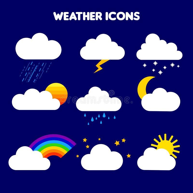 Illustrazione di tempo pioggia, tempesta, fulmine, neve, cielo con le stelle, arcobaleno, nuvoloso, tramonto, luna, annuvolamento illustrazione vettoriale