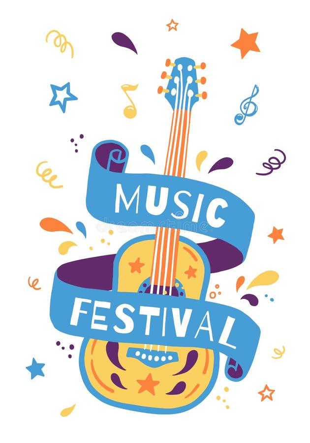 Illustrazione di tiraggio della mano di vettore con la chitarra acustica e l'iscrizione Grande elemento per il festival di musica illustrazione di stock