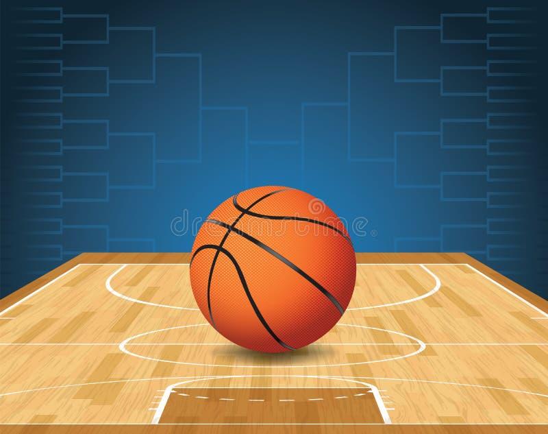 Illustrazione di torneo della palla e del campo da pallacanestro illustrazione vettoriale