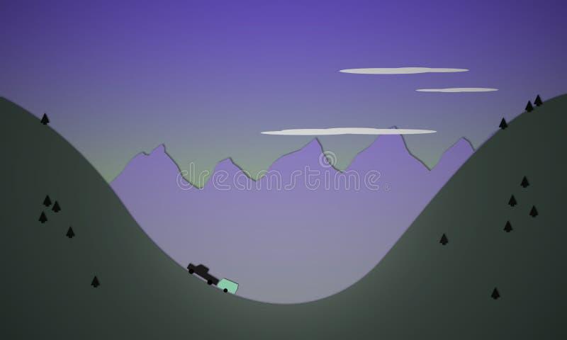 Illustrazione di un camion che tira un rimorchio su una collina illustrazione vettoriale