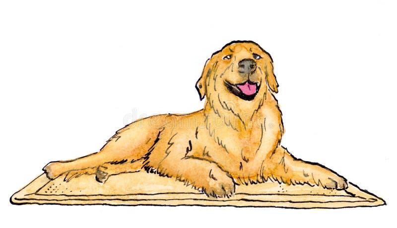 illustrazione di un cane di Labrador che si trova su una stuoia immagine stock