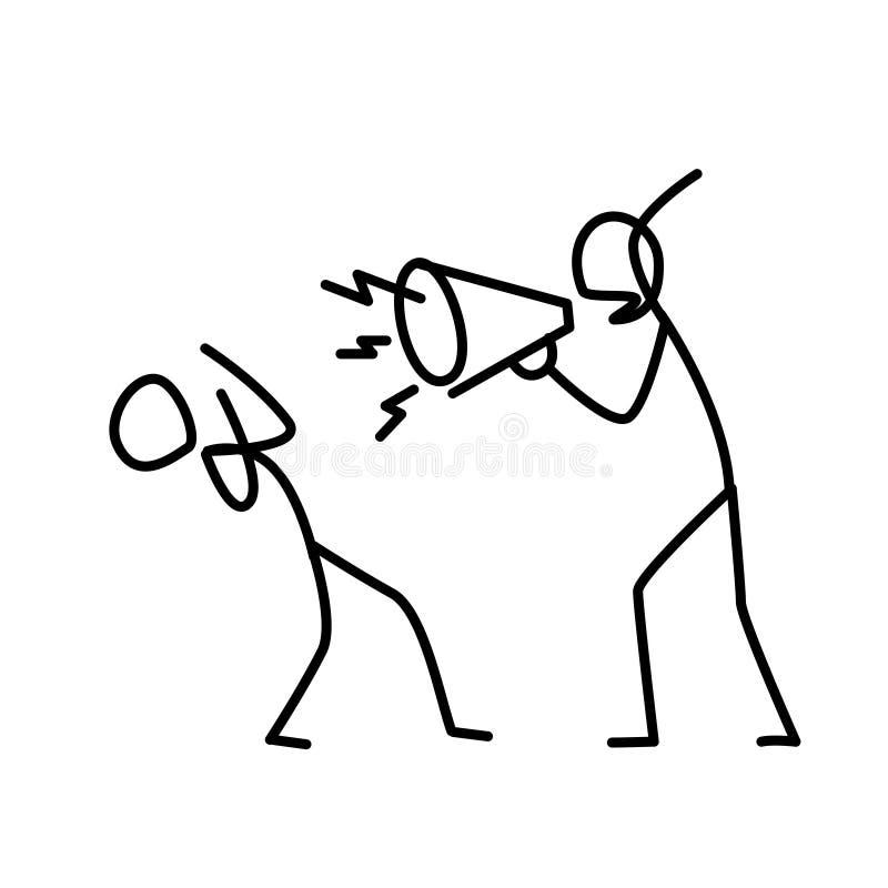 Illustrazione di un capo arrabbiato che grida ad un impiegato Vettore Un responsabile contrariato urla ad un impiegato metafora s royalty illustrazione gratis
