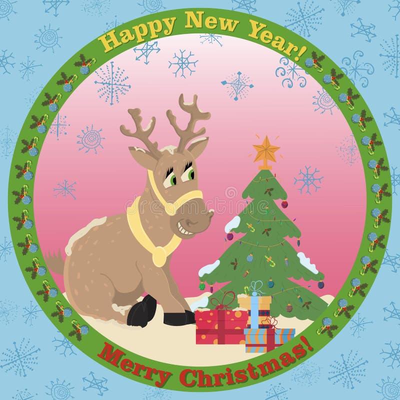 illustrazione di un cervo di Natale che si siede fra i regali accanto ad un albero di Natale su un autoadesivo piano di stile di  illustrazione vettoriale