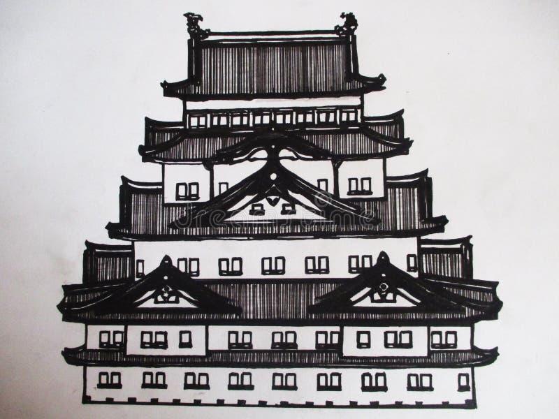 Illustrazione di un disegno grafico di un tempio giapponese illustrazione di stock