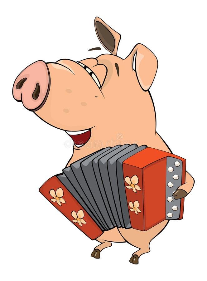 Illustrazione di un fumetto del maiale-musicista royalty illustrazione gratis