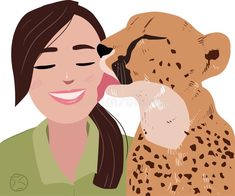 Illustrazione di un ghepardo e di una ragazza royalty illustrazione gratis