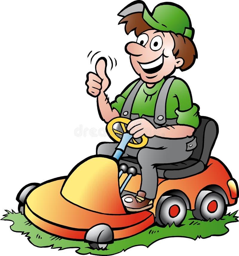 illustrazione di un giardiniere felice che guida il suo lawnm royalty illustrazione gratis