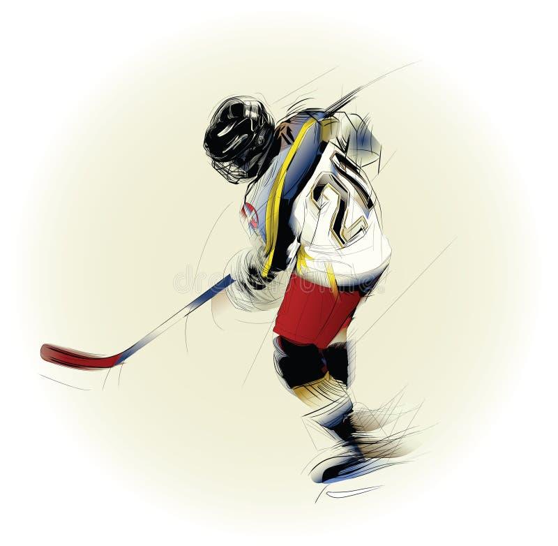 Illustrazione di un giocatore di hickey del ghiaccio illustrazione vettoriale
