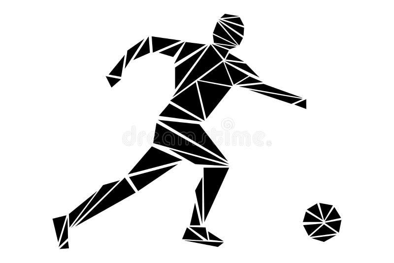 Illustrazione di un giocatore di football americano nello stile poligonale illustrazione di stock