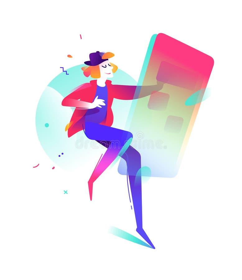 Illustrazione di un giovane con uno smartphone Ordine attraverso Internet Illustrazione di vettore in uno stile piano Illustrazio illustrazione vettoriale