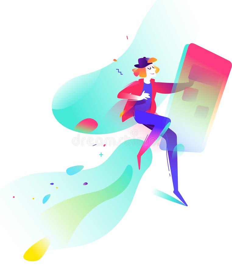 Illustrazione di un giovane nelle reti sociali su un fondo astratto Commercio del Internet Uomo e telefono mobile Vettore illustrazione di stock