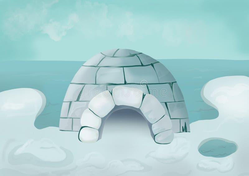 Illustrazione di un iceberg con un igloo royalty illustrazione gratis