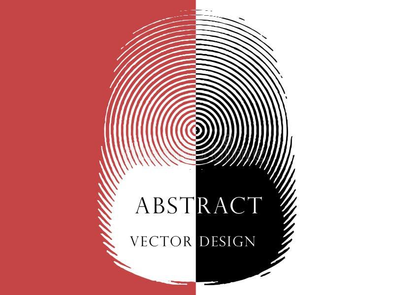 Illustrazione di un'impronta digitale astratta sotto forma di anelli con spazio per testo, modello royalty illustrazione gratis