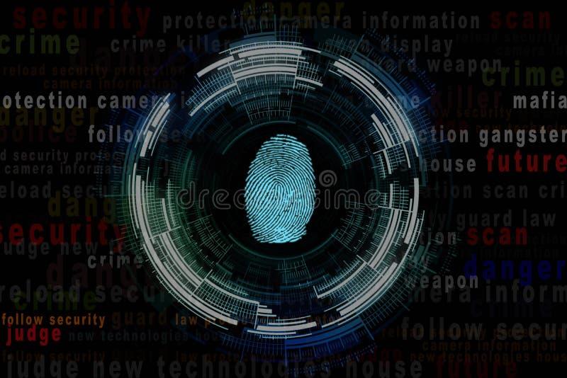 Illustrazione di un'impronta digitale ed intorno al carattere criminale di parola immagini stock