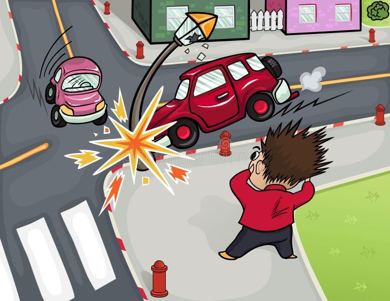 Illustrazione di un incidente stradale alle strade trasversali illustrazione di stock