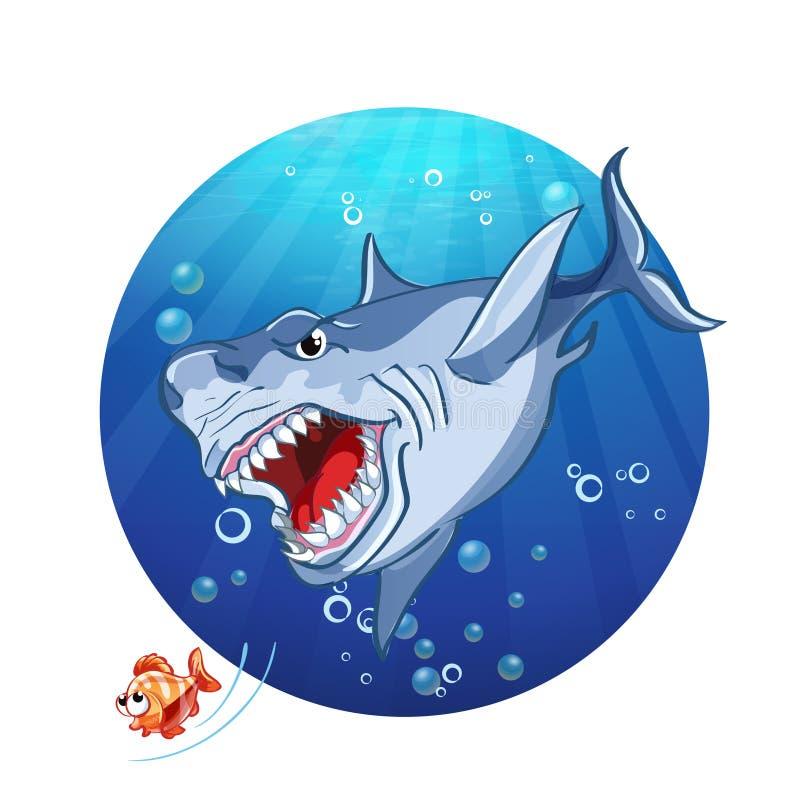 Illustrazione di un inseguimento dello squalo il poco pesce illustrazione vettoriale