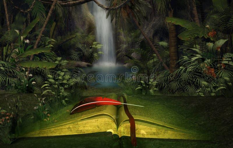 Illustrazione di un libro aperto nella giungla illustrazione vettoriale
