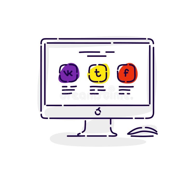 Illustrazione di un monitor con le icone delle reti sociali Disegno isolato su fondo bianco Illustrazione piana di vettore illustrazione di stock