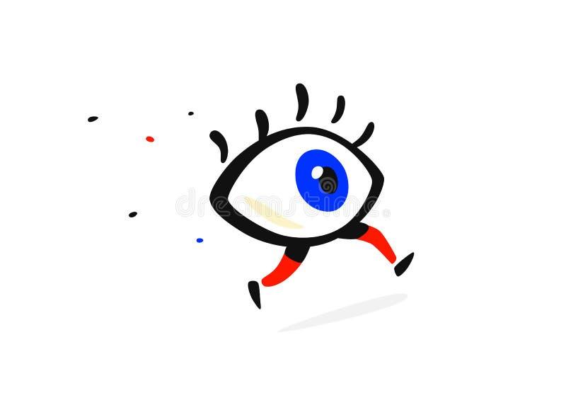 Illustrazione di un occhio corrente Vettore Stile piano del fumetto Carattere per la società ed il logo Clinica di occhio di marc royalty illustrazione gratis