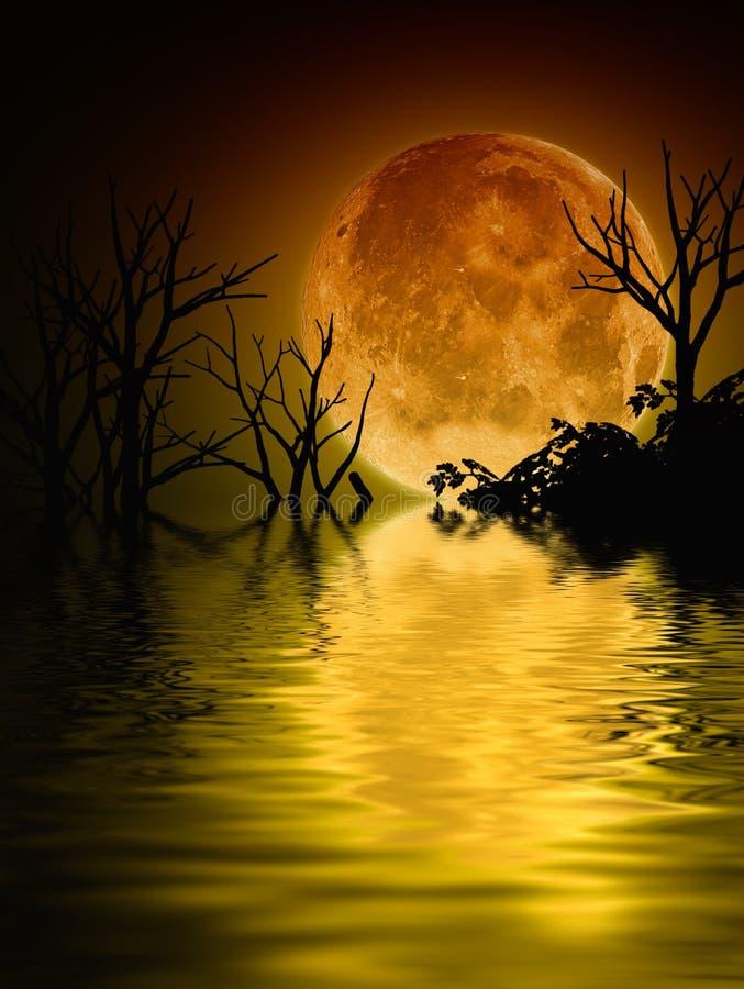 Illustrazione di un paesaggio della luna piena illustrazione di stock
