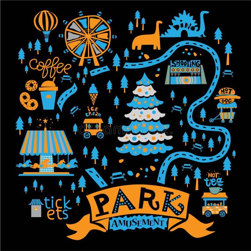 Illustrazione di un parco di divertimenti di Natale illustrazione di stock