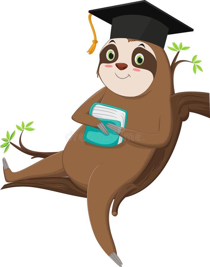 Illustrazione di un personaggio carnoso con berretto da graduazione fotografie stock