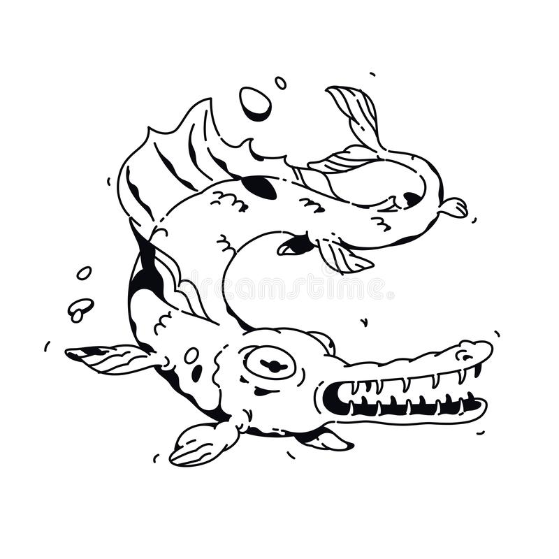Illustrazione di un pesce del fumetto Vettore Disegno lineare per un tatuaggio Mascotte corporativa per la societ? Illustrazione  royalty illustrazione gratis