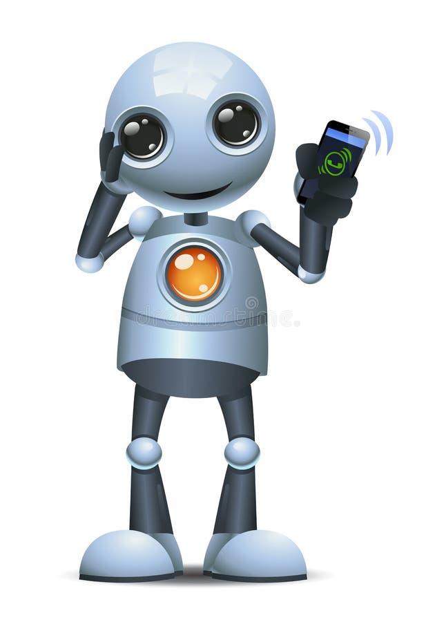 Illustrazione di un piccolo robot che confonde la comunicazione del telefono di attesa per rispondere a una chiamata illustrazione di stock