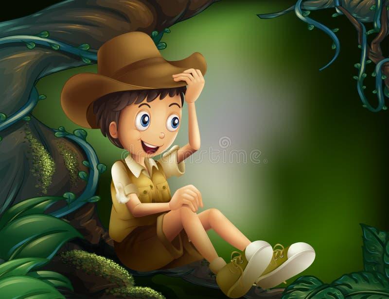 Un ragazzo che si siede in un albero alla foresta pluviale illustrazione di stock