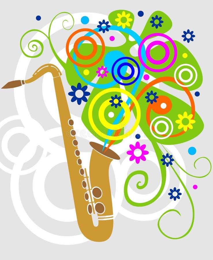 Illustrazione di un saxaphone con i fiori illustrazione di stock