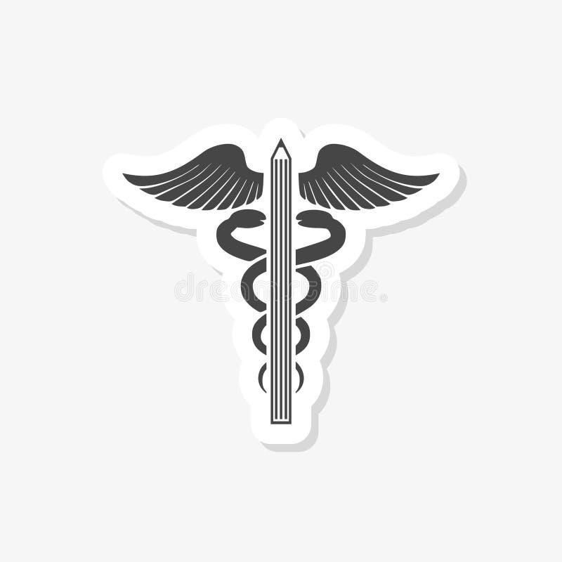 Illustrazione di un simbolo medico di un emblema medico isolato su un fondo bianco caduceo medico di logo illustrazione vettoriale