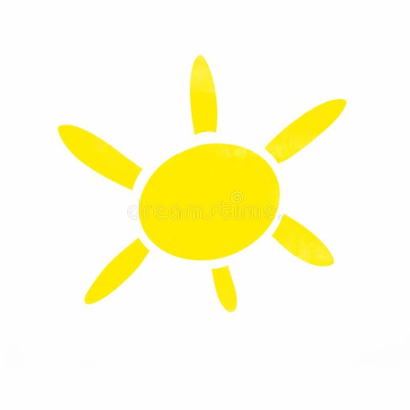 Illustrazione di un sole giallo luminoso con sei raggi delle lunghezze differenti su un fondo bianco illustrazione di stock