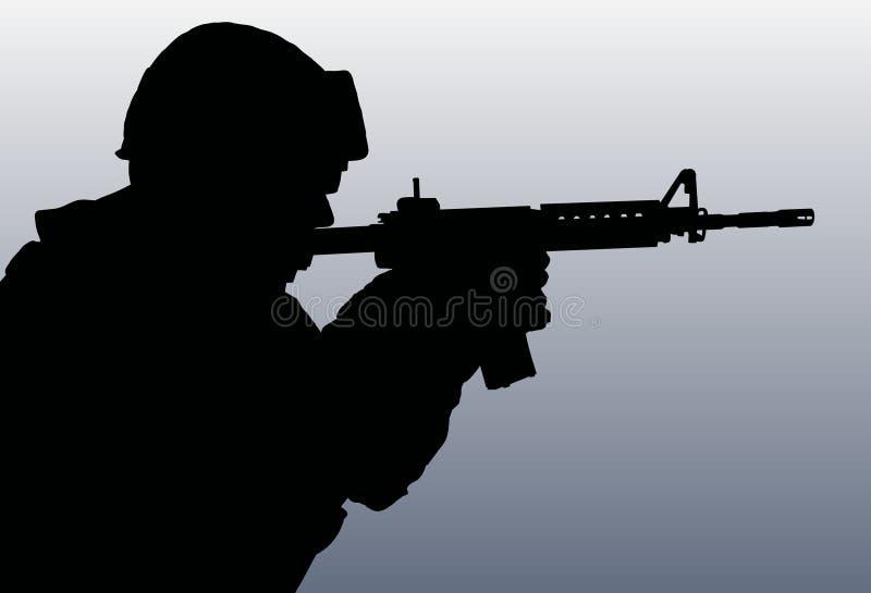 Siluetta del soldato illustrazione di stock
