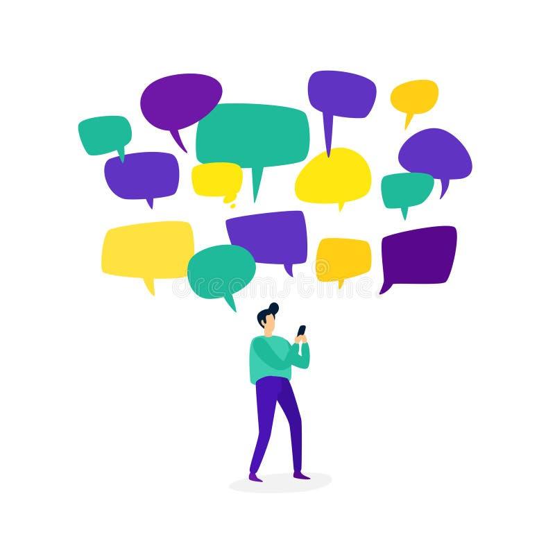 Illustrazione di un uomo con un telefono Vettore Un uomo comunica nei chat room attraverso i messaggeri Stile piano Comunicazione illustrazione di stock