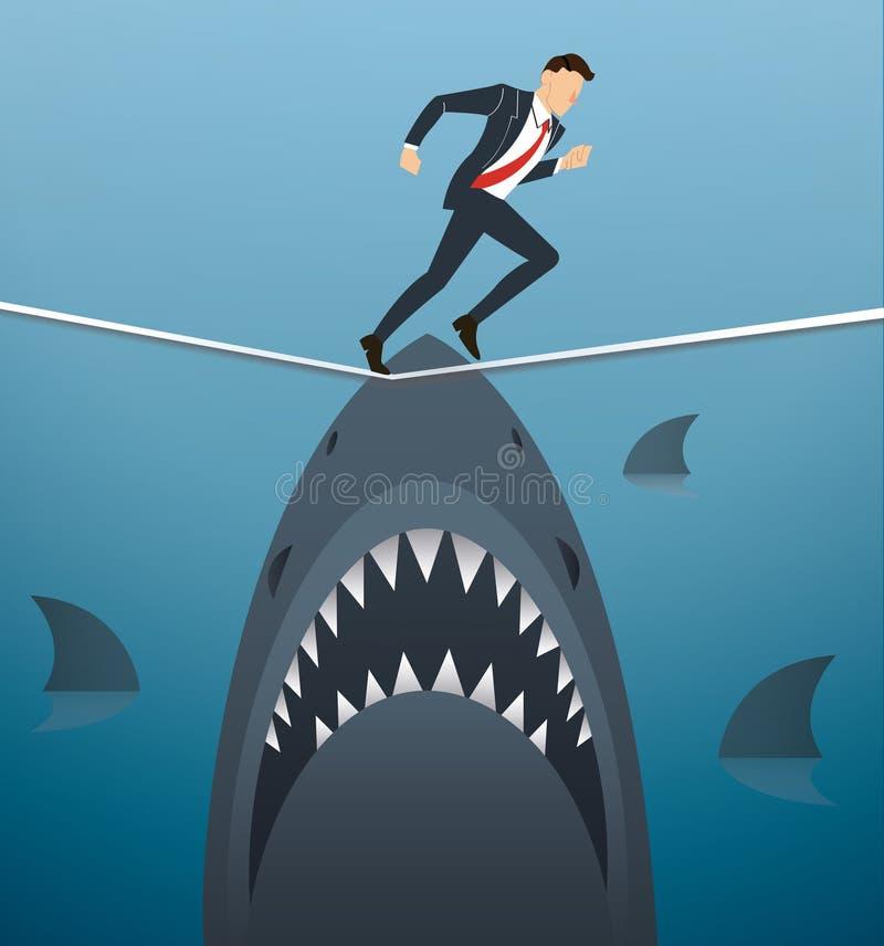 Illustrazione di un uomo d'affari che cammina sulla corda con gli squali al di sotto della probabilità di rischio d'impresa illustrazione di stock