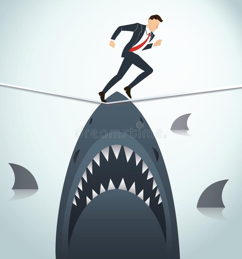 Illustrazione di un uomo d'affari che cammina sulla corda con gli squali al di sotto della probabilità di rischio d'impresa illustrazione vettoriale