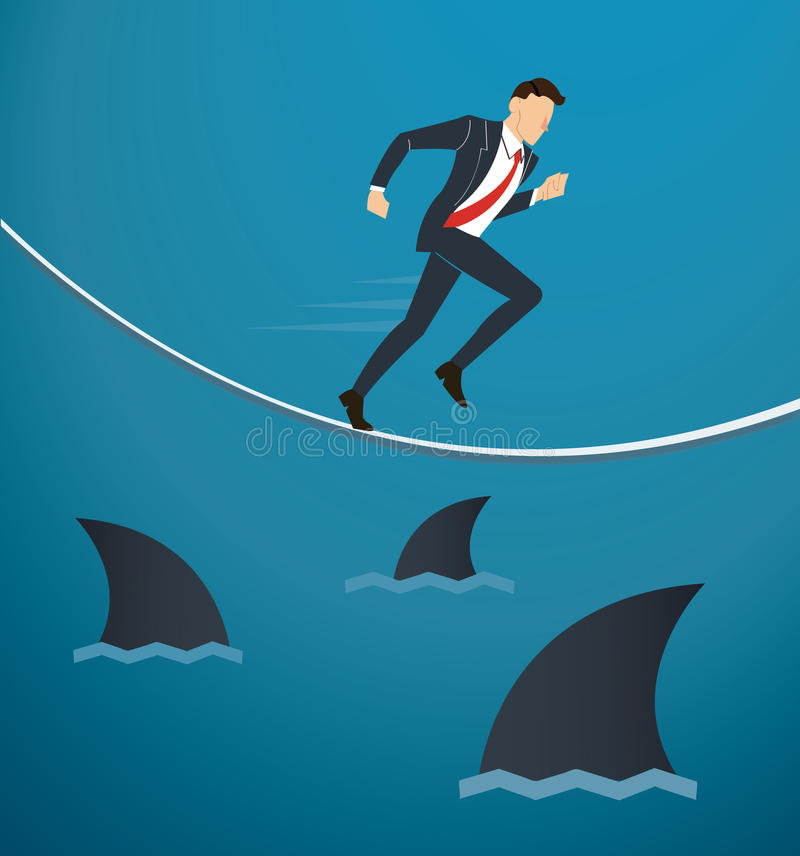 Illustrazione di un uomo d'affari corrente sulla corda con gli squali al di sotto della probabilità di rischio d'impresa royalty illustrazione gratis