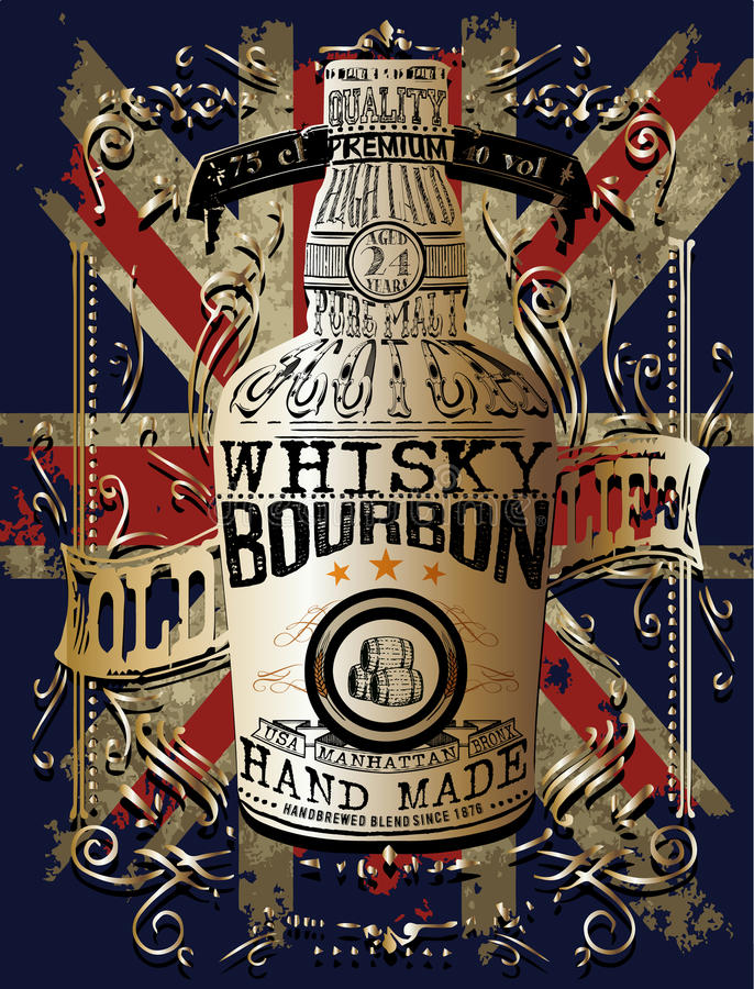 Illustrazione di una bottiglia di whiskey illustrazione di stock