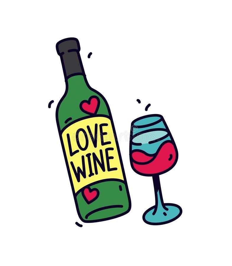 Illustrazione di una bottiglia di vino e di un vetro Vettore Autoadesivo o distintivo per gli amanti di vino L'iscrizione sulla b royalty illustrazione gratis