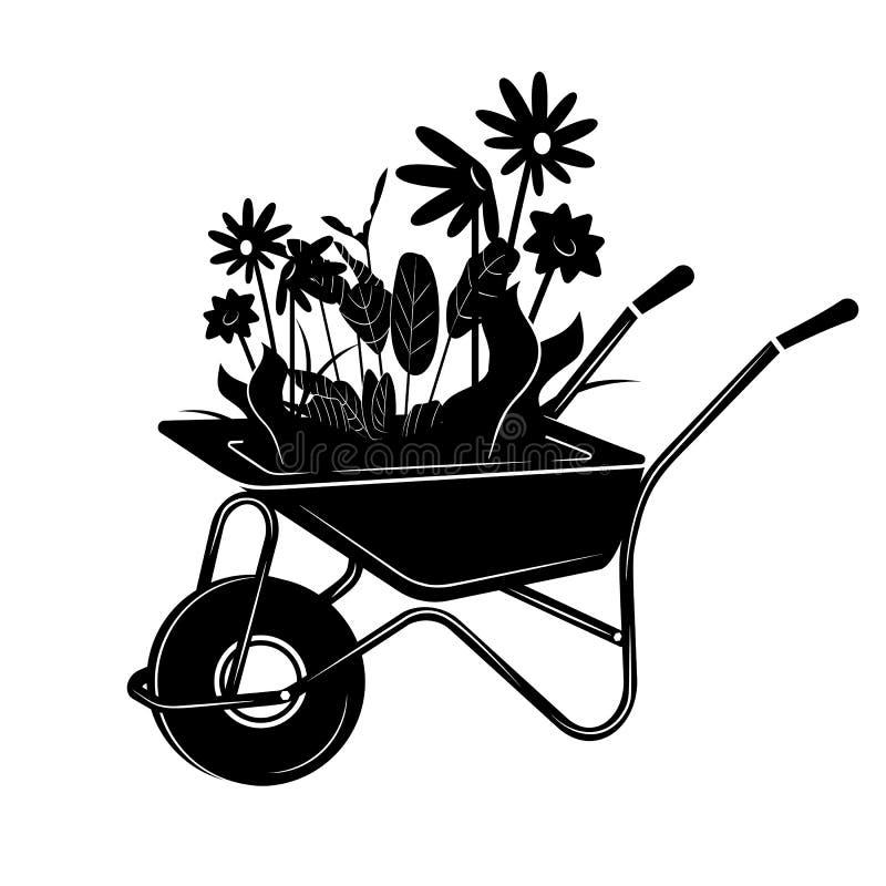 Illustrazione di una carriola con i fiori in uno stile semplice illustrazione vettoriale