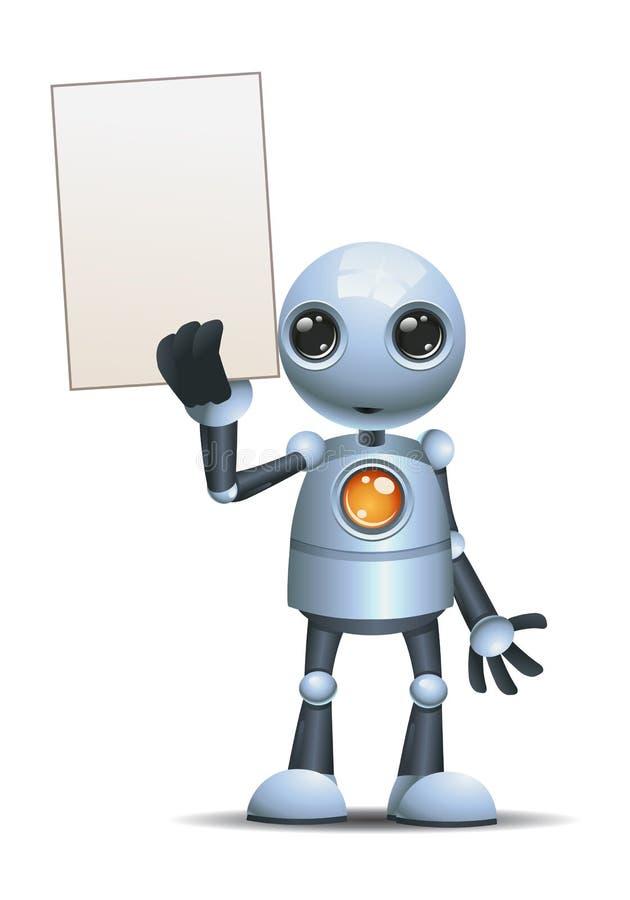 illustrazione di una carta in bianco della piccola del robot tenuta felice dell'uomo d'affari illustrazione di stock