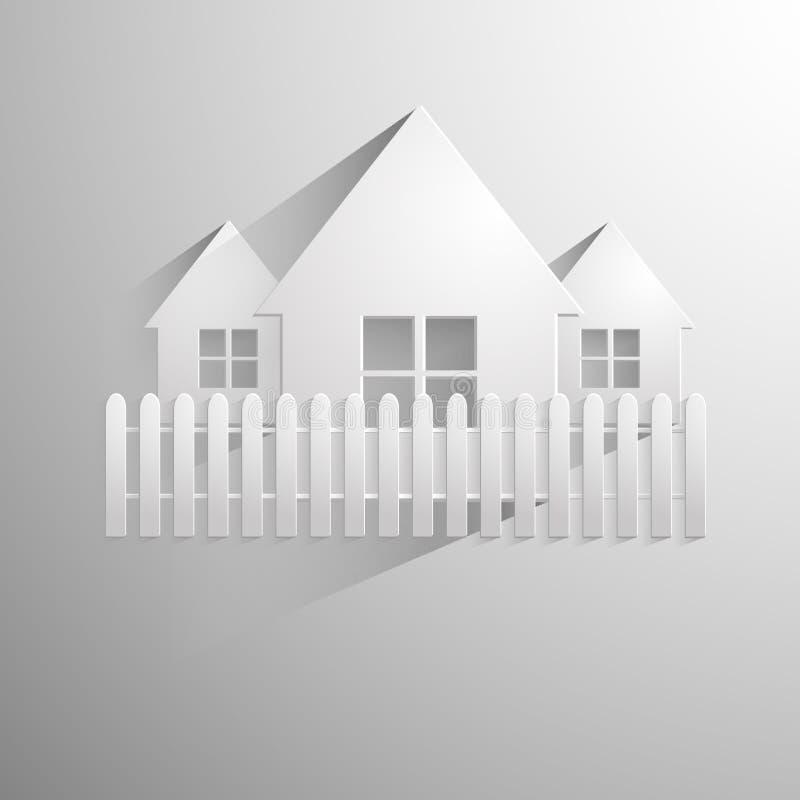 Illustrazione di una casa di carta isolata su luce illustrazione di stock